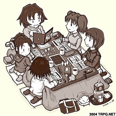 Grupo de RPG jogando ao redor da mesa